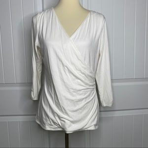 WHBM NWT essential tee faux wrap top size large